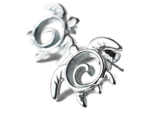 Sea Turtle Swirl Post Earrings Sterling Silver