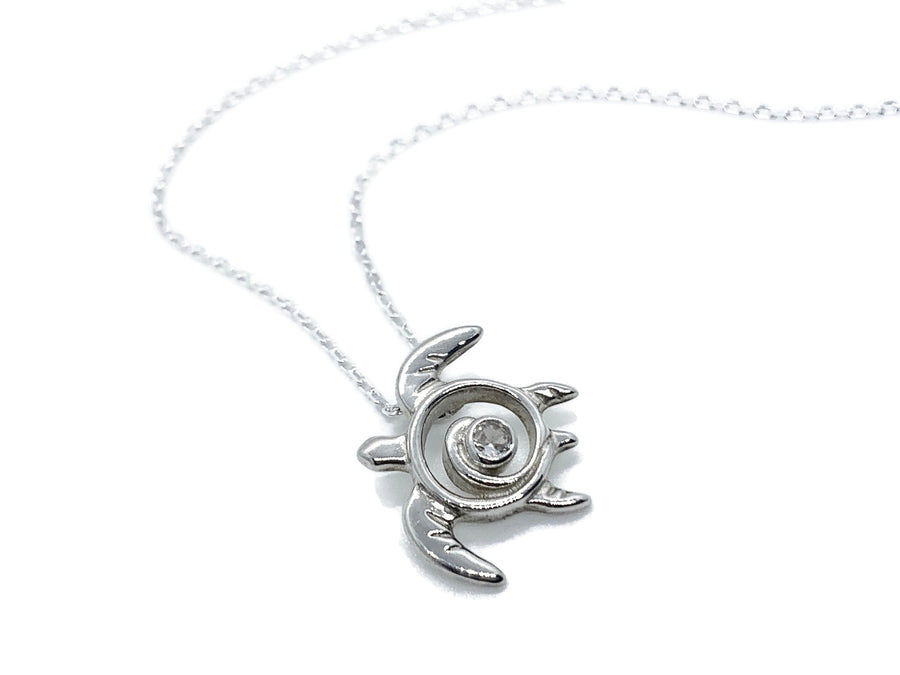 Silver Sea Turtle Necklace with White Topaz