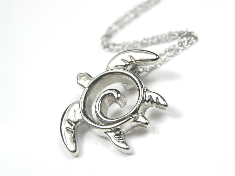 White Gold Turtle Totem Pendant/ Necklace