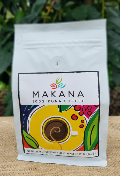 MAKANA 100% Kona Coffee - Light Roast 12 oz. Whole Bean
