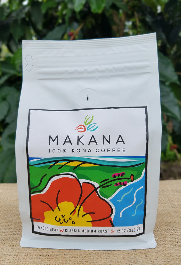MAKANA 100% Kona Coffee - Medium Roast 12 oz. Whole Bean