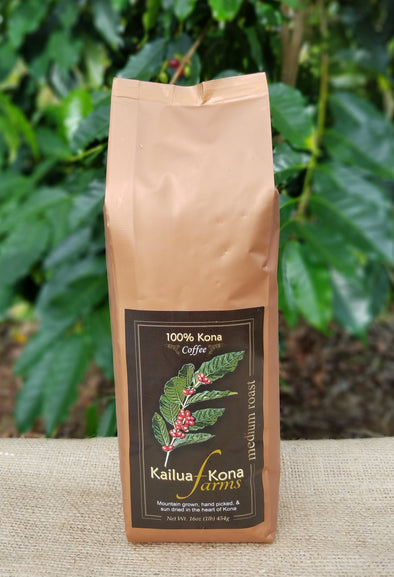 Kailua-Kona Farms 100% Kona Coffee - Medium 1 lb. Whole Bean