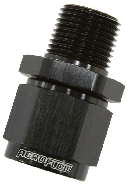"AF916-06-02BLK - Male NPT to Female AN Straight Fitting 1/8"" to -6AN"