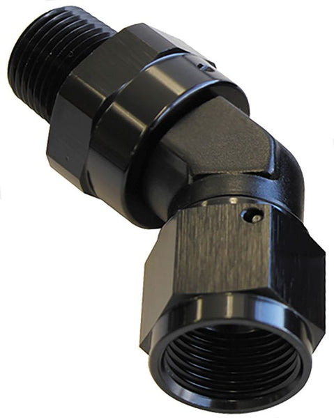 "AF919-12-08BLK - 45° NPT Swivel to Male AN Flare Adapter 1/2"" to -12AN"