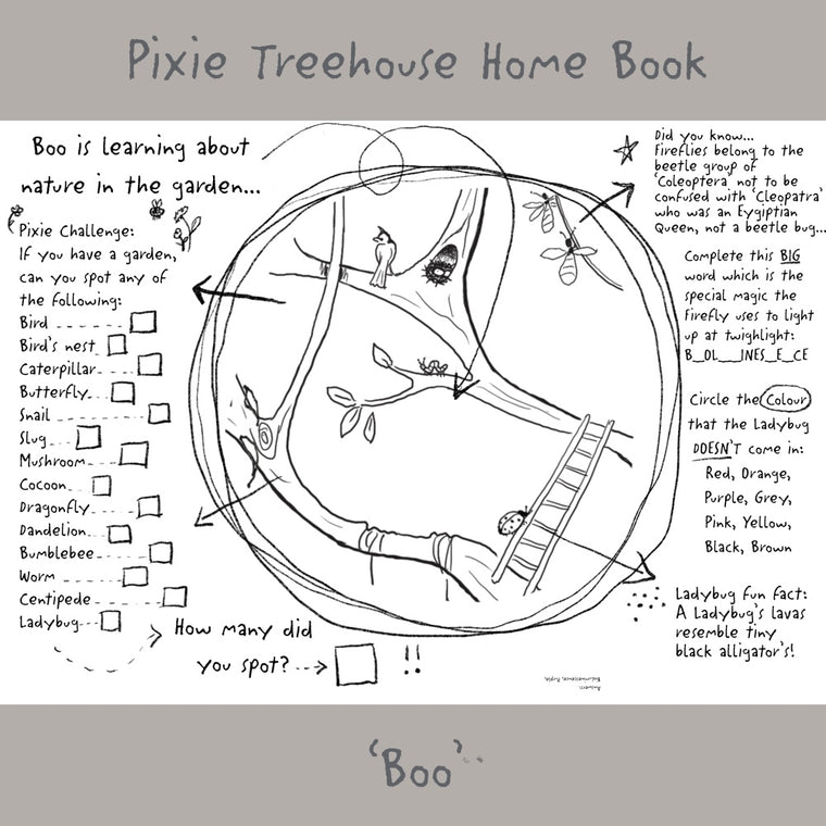 'Wish Pixie Treehouse Home' Book Page - Boo