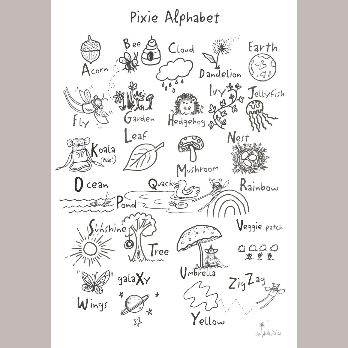 Pixie Alphabet Colouring Page