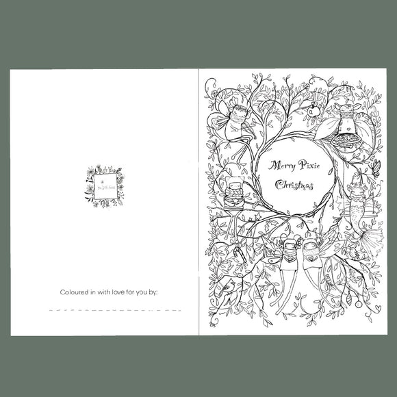 Pixie Colour-in Christmas Card