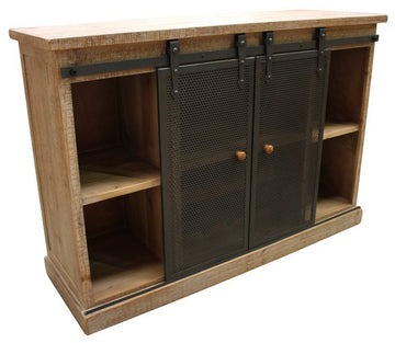 Buffet Wine Cabinet W/ Metal Sliding Doors