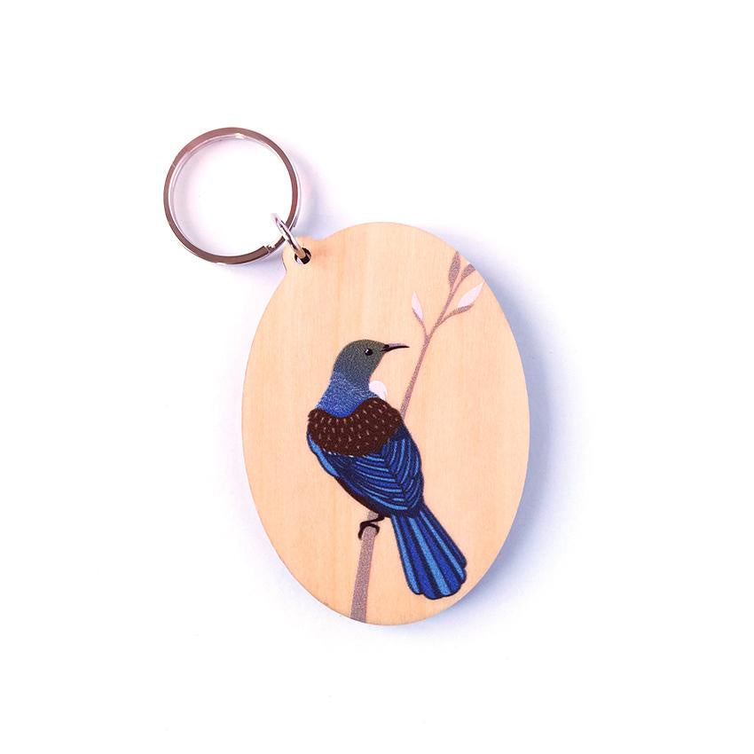 Tui on Branch (Natural) Keytag