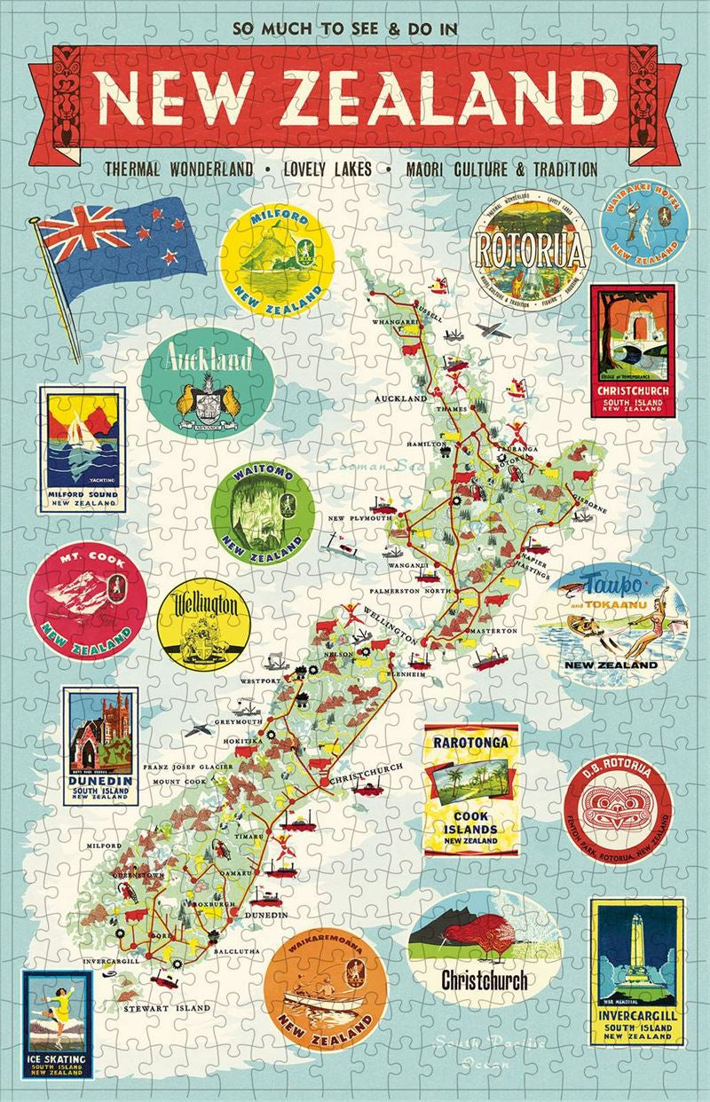NZ Map - 500 Piece Vintage Puzzle