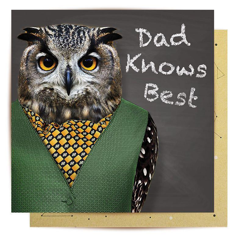 Dad Knows Best Owl Card