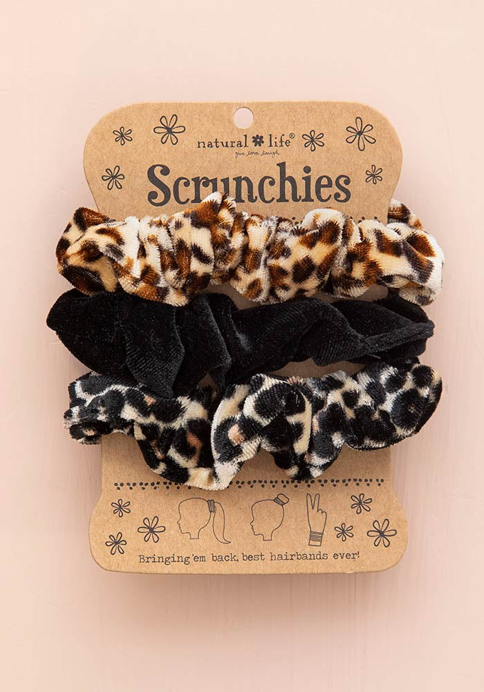 Velvet Scrunchies Set - Animal Print