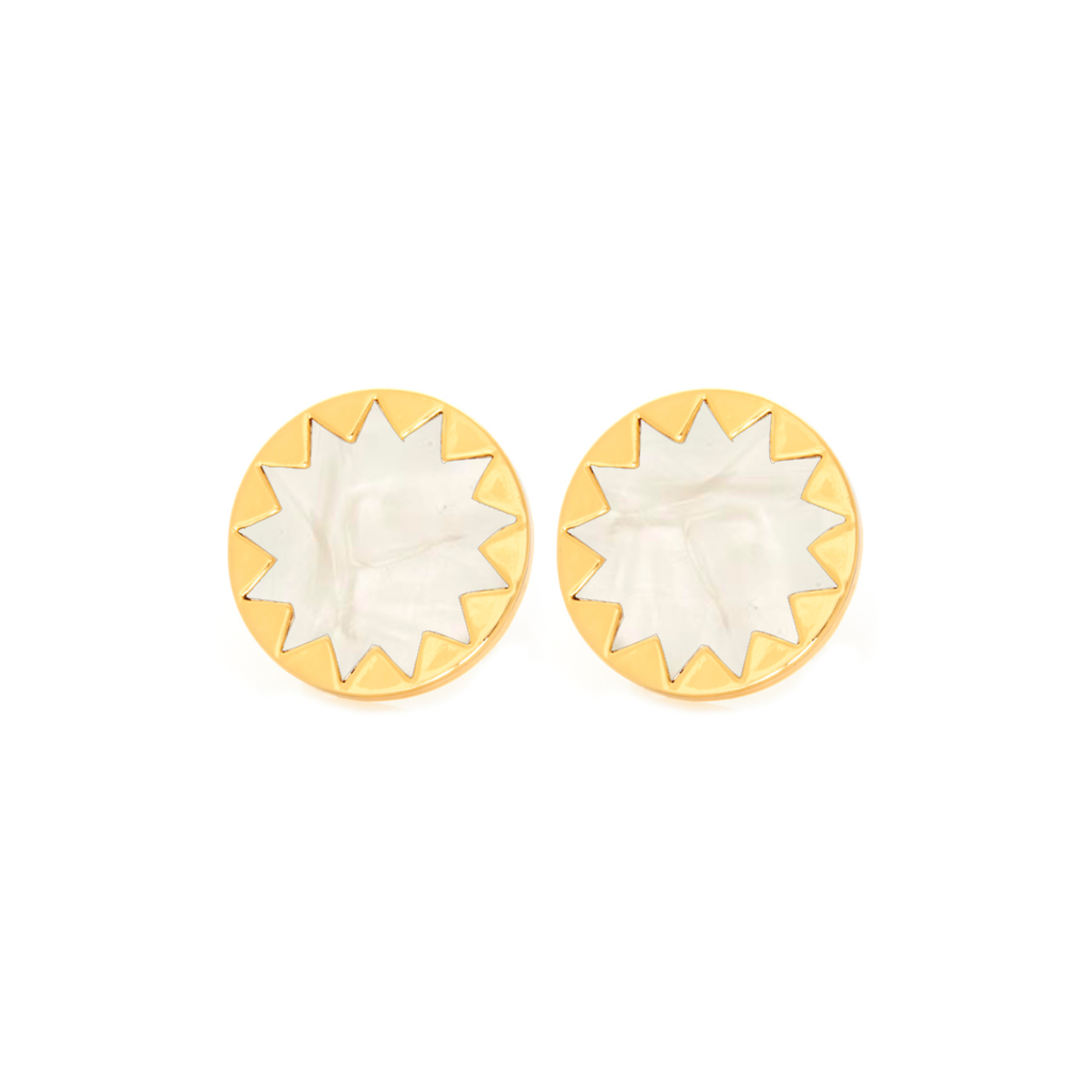 Pearl Sunburst Button Earrings