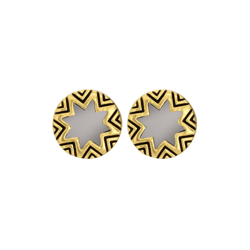 Enamled Engraved Mini Sunburst Stud Earrings