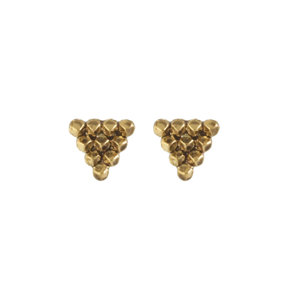 Gold Cerro Torre Pyramid Stud Earrings
