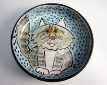 Load image into Gallery viewer, Grey and White Maine Coon Cat Feeding Dish