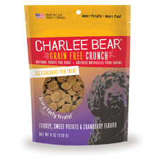 Load image into Gallery viewer, Charlie Bear Turkey, Sweet Potato & Cranberry Crunch Dog Treats, 8oz Bag