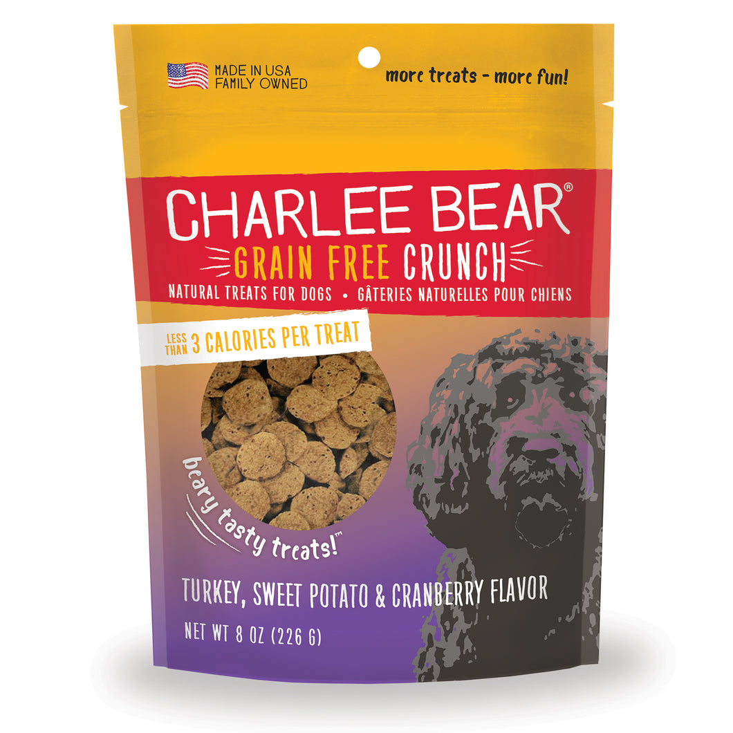 Charlie Bear Turkey, Sweet Potato & Cranberry Crunch Dog Treats, 8oz Bag