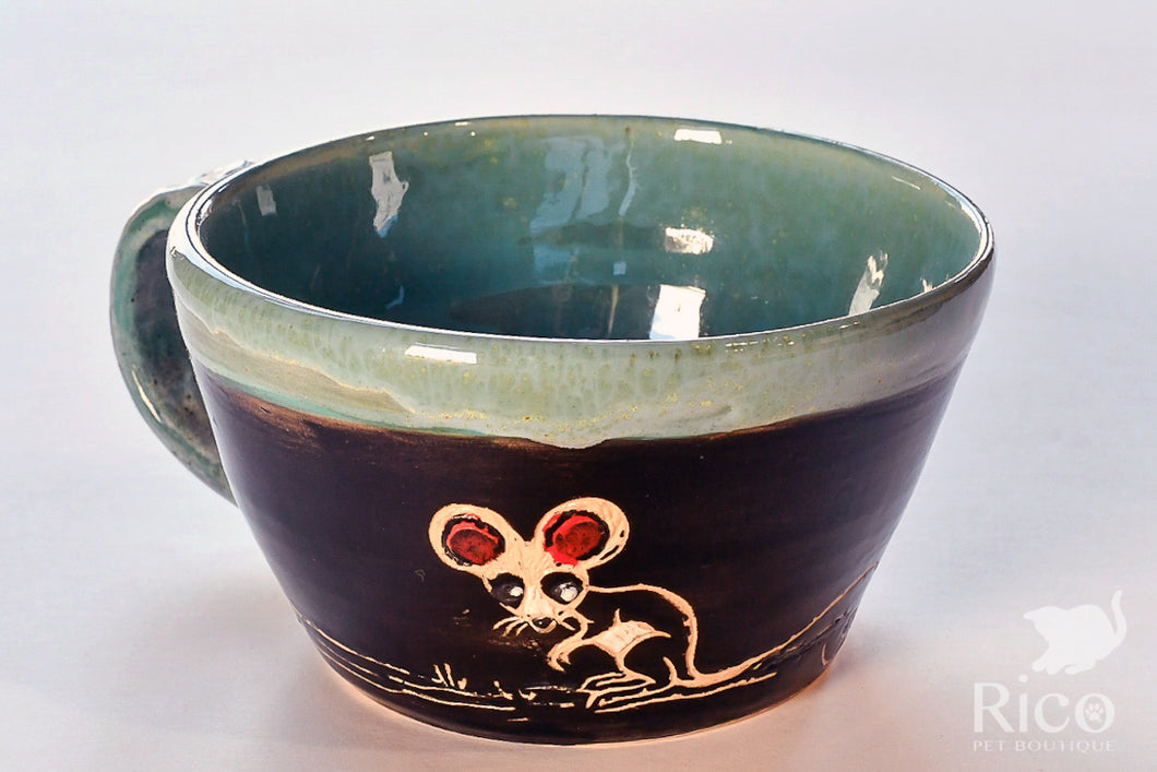 Kitty Mug, Black & Teal