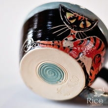 Load image into Gallery viewer, Kitty Mug, Black & Teal