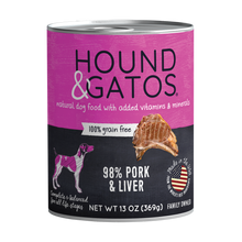 Load image into Gallery viewer, Hound & Gatos 98% Pork & Liver Grain-Free Canned Dog Food, 13 oz - Case of 12