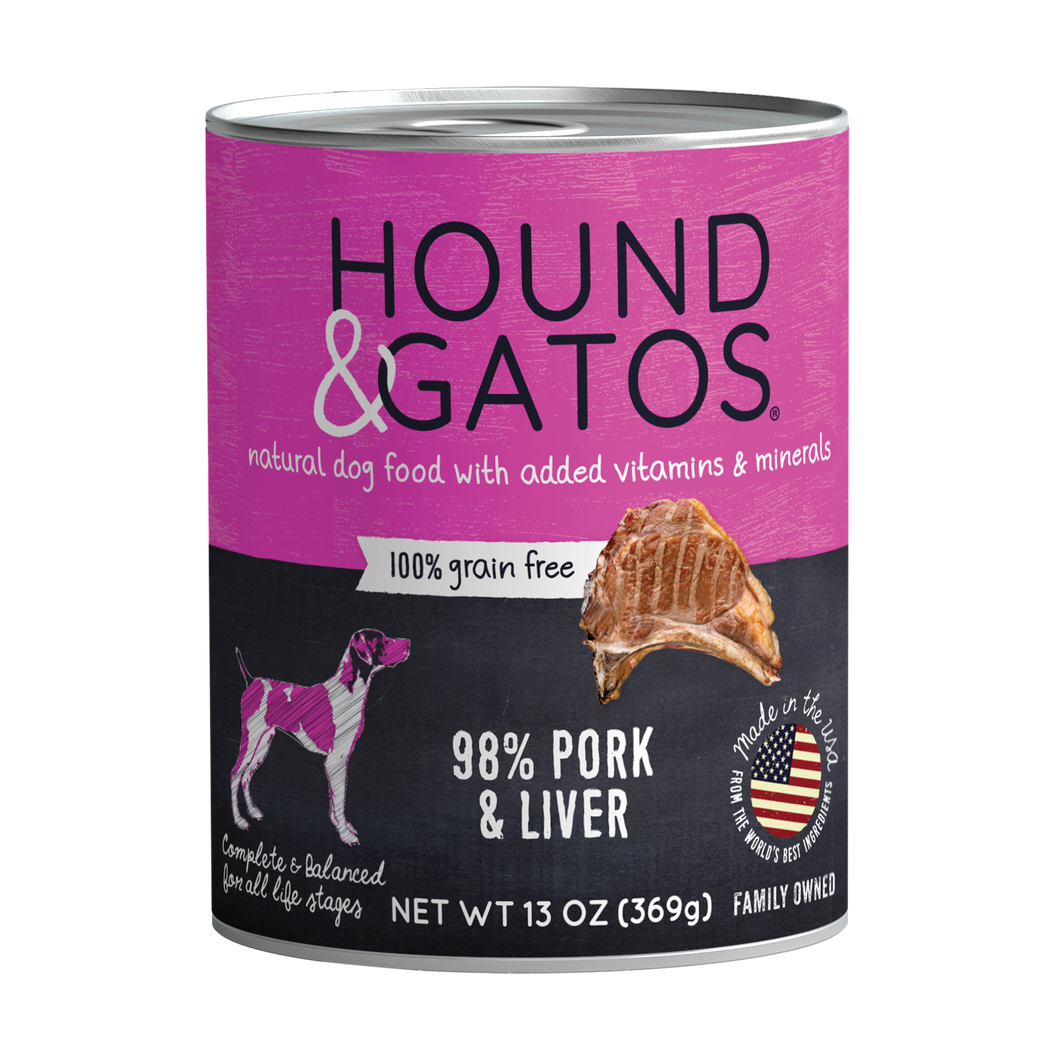 Hound & Gatos 98% Pork & Liver Grain-Free Canned Dog Food, 13 oz - Case of 12