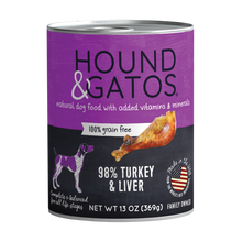 Load image into Gallery viewer, Hound & Gatos 98% Turkey & Liver Grain-Free Canned Dog Food, 13 oz - Case of 12