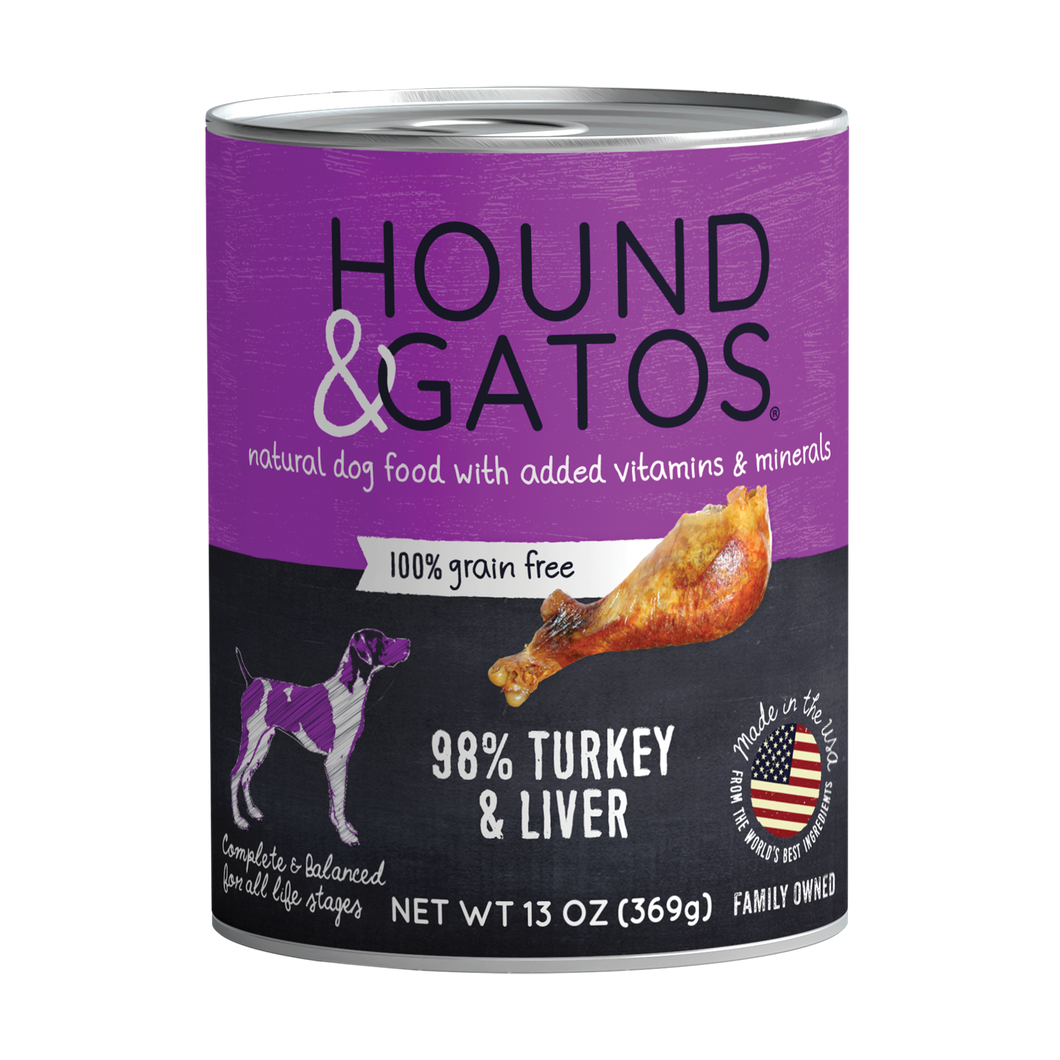 Hound & Gatos 98% Turkey & Liver Grain-Free Canned Dog Food, 13 oz - Case of 12