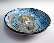 Load image into Gallery viewer, Grey Tabby Cat Feeding Dish