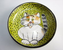 Load image into Gallery viewer, Calico Grey Orange White Cat Feeding Dish
