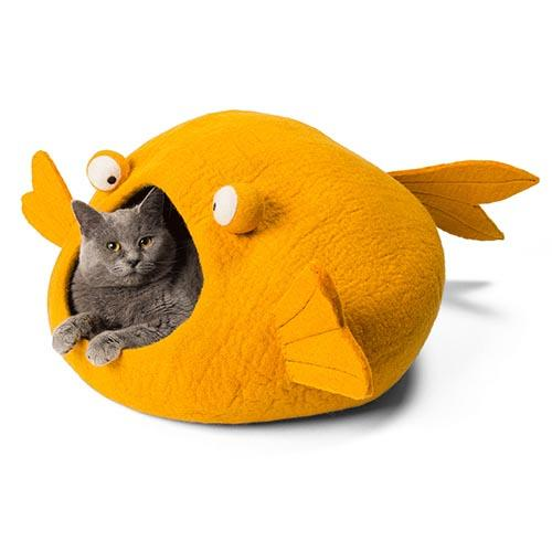 Orange Koi Cat Cave Bed
