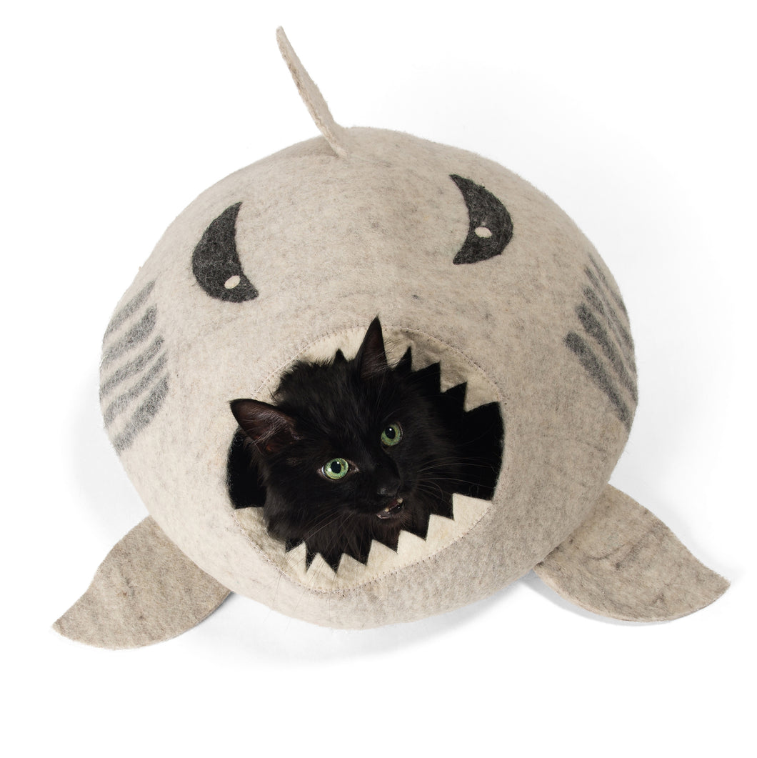 Grey Shark Cat Cave Bed
