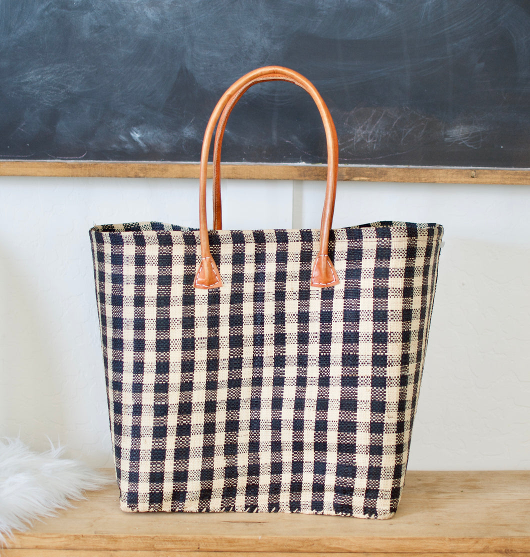 Perfectly Checked Woven Bag- BLACK