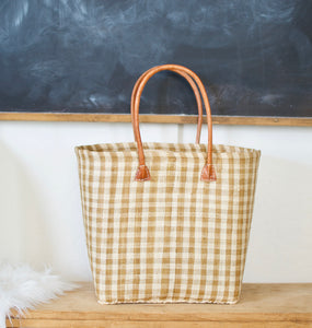 Perfectly Checked Woven Bag- NATURAL