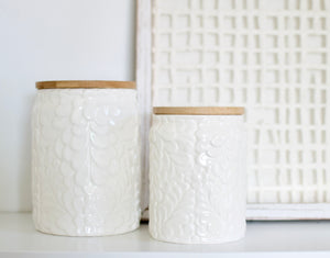 Embossed Floral Canister- Small