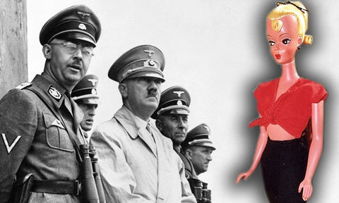 Adolf Hitler with Nazis standing next to a blonde sex doll