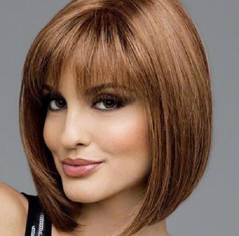Light Brown with Bangs Wig
