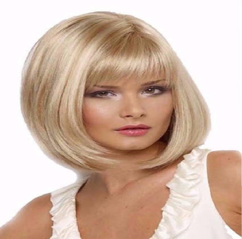 Short Blonde with Bangs Wig