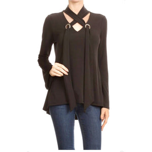 Grommet Detail Long Sleeve Top