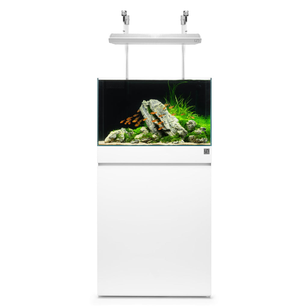 Shop Ultum Nature Systems Aquarium Tank Stand - Piano White Aquarium Tank Stand - Glass Aqua