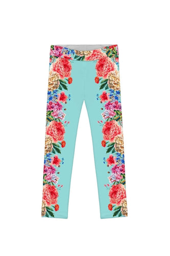 Amour Lucy Blue Floral Print Cute Eco Leggings -