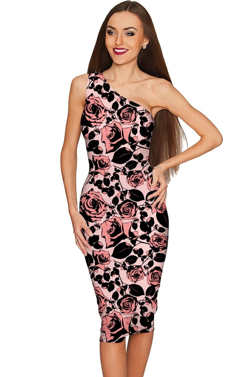 Flirty Girl Layla Pink Black Floral Print Cocktail