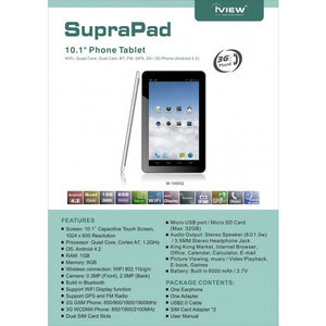 "Iview SupraPad M-1000Q 10.1"" 8GB Phone Tablet,Cortex A7 Quad Core CPU,31GB DDR3"