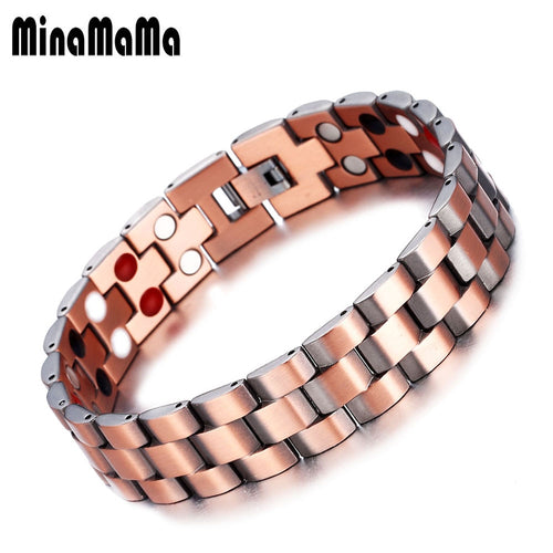Men Bracelet Pure Copper Chunky Chain Link Bracelets Arthritis Therapy Care Germanium Magnetic Bracelets For Men