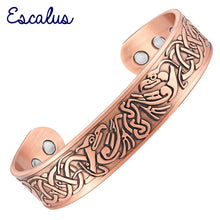 Escalus Men's Powerful Pure Copper Bangle Vintage Magnetic Bracelet For Women Health Bio Charm Round New Bangles