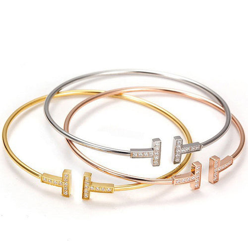 Gold/Rose Gold/Silver 3 Color Choose Bangle Opened Cuff Copper Bracelets Women Punk Round Bangle Jewelry