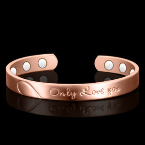 "Free Shipping! 100% Copper ""only Love You"" Bangle!6 Magnets Health Balance Magnetic Bracelet Bangles for Mens/ Women"