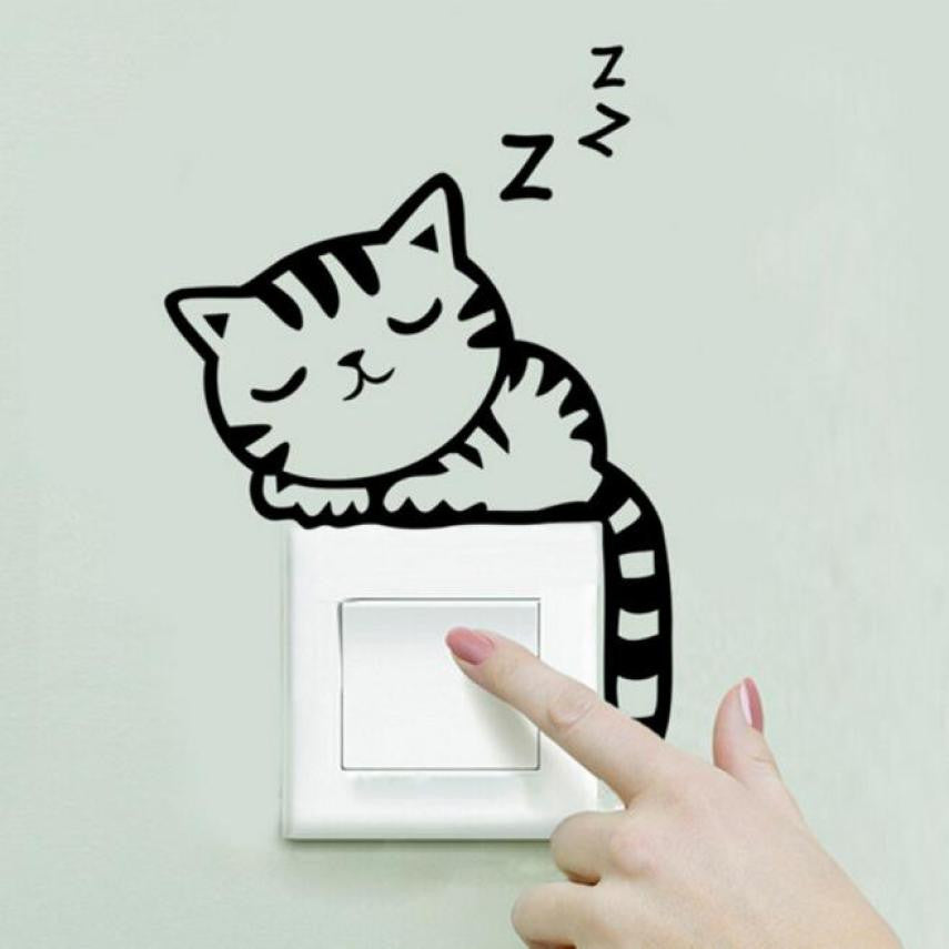 2016 wall stickers Cat  Switch Wall Sticker Decor decals decoration for kids rooms wall art cartoon decals diy children sticker