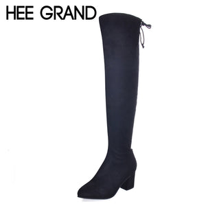 HEE GRAND Over-The-Knee Boots Faux Fur Zip Flock Winter Women Boots Slim Square High Heels Fashion Zippers Shoes Woman XWX5983
