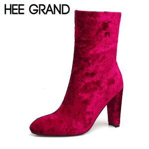 HEE GRAND Flock New Winter Warm Solid Pumps Shoes Women Sexy Ankle Boots Suede Thin Heels Boot Shoes Woman Size 35-39 XWX6241